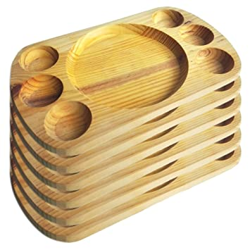 Artema - Plato de Madera con Porta Salsas - 30*20 cm - Set de 6: Amazon.es: Hogar