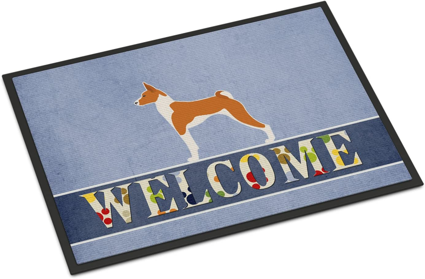 Caroline s Treasures BB5578MAT Basenji Welcome Indoor or Outdoor Mat 18×27, 18H X 27W, Multicolor