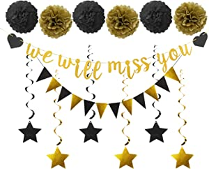 Farewell Party Decorations Supplies Kit - 14Pcs - We Will Miss You Banner, Triangle Flag, 6Pcs Star Swirl, 6Pcs Pom - Great for Retirement Farewell Going Away Job Change Party Decorations(Black Gold)
