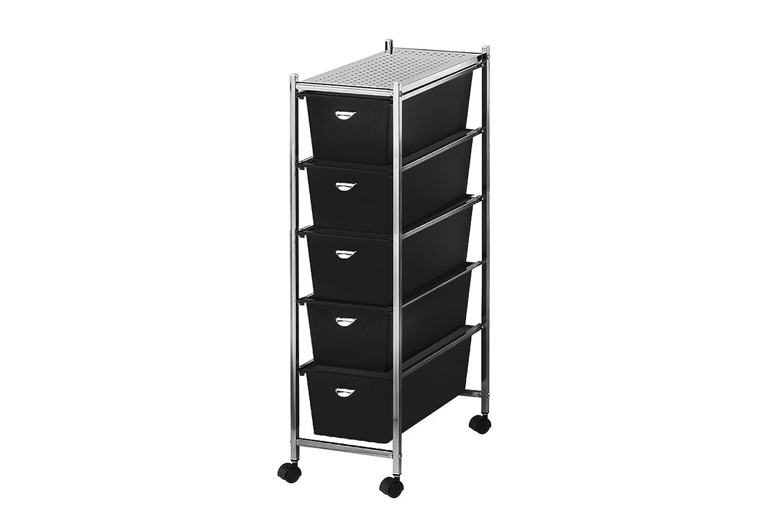 Arte Regal Import 32568 - Carrito de baño de Metal con 5 cajones, 23 x 39,5 x 82 cm, Color Negro