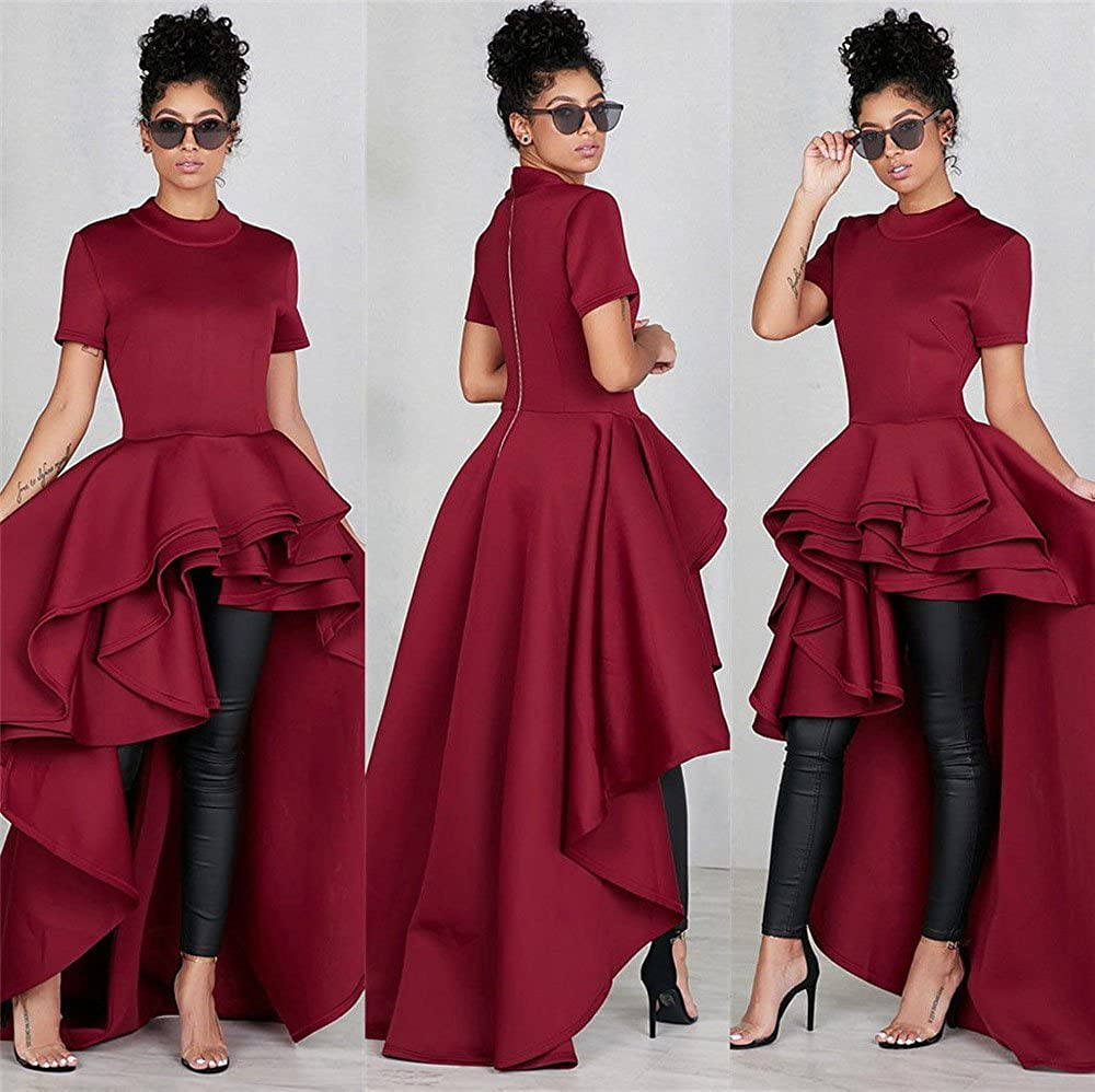 Amazon.com: WUYIMC Womens Party Dress, Ladies Short Sleeve Asymmetrical Ruffles Dress Back Zipper for Evening Cocktail Party: Clothing