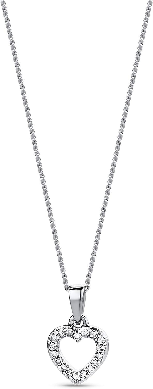 Diamada Colgante de Oro Blanco de 9K (375/1000) con Diamante para Mujer, 45 cm
