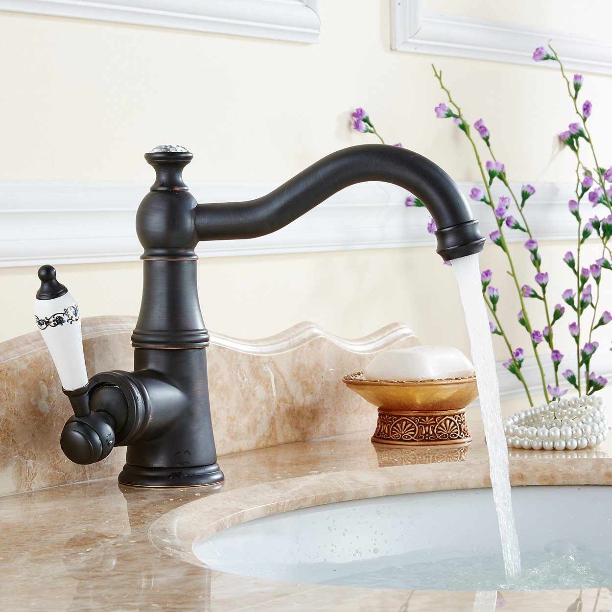 LHbox Basin Mixer Tap Bathroom Sink Faucet Basin faucet black ancient classical cold and hot tub on the bluee-tiled single hole basin with high water faucet