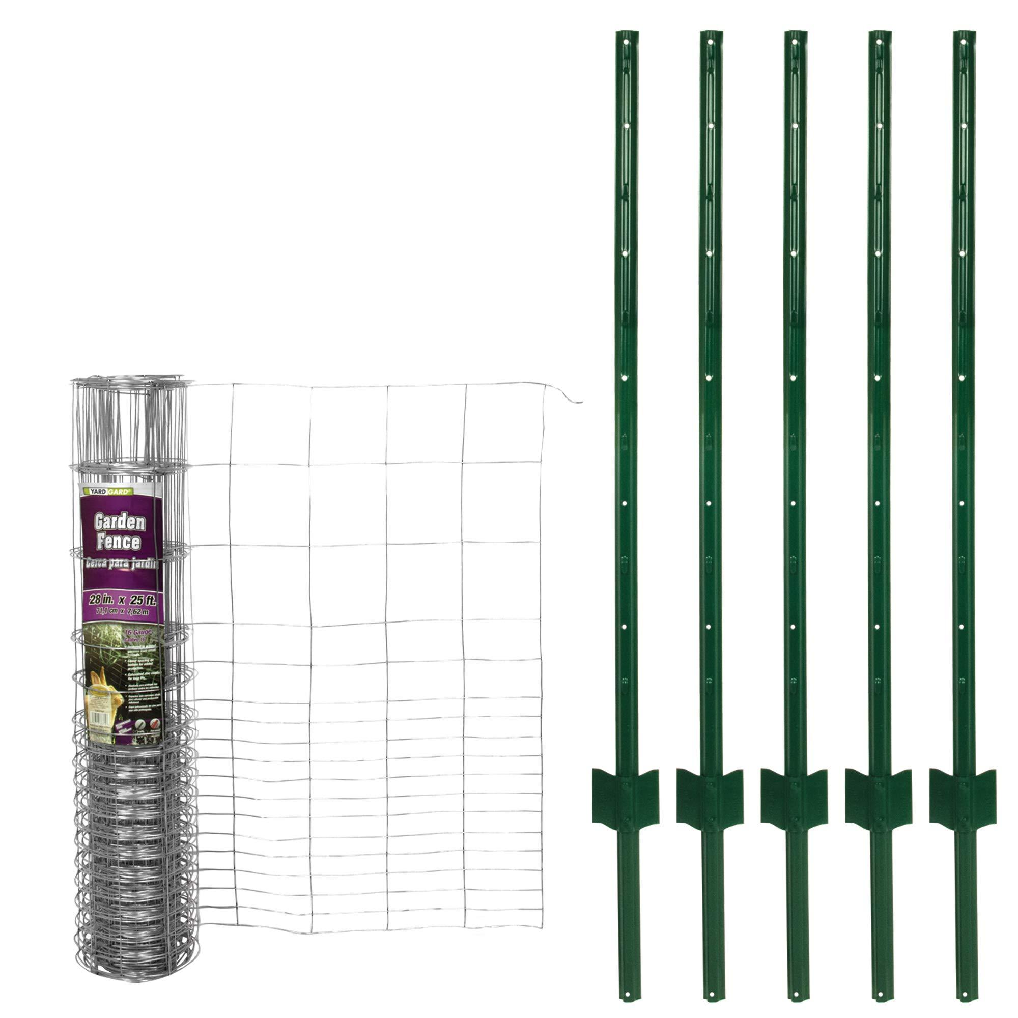 YARDGARD 308374KIT 28 in. x 25 Rabbit 5 x 4 Ft. U Combo Kit Garden Fence with Posts, Grey by YARDGARD (Image #2)