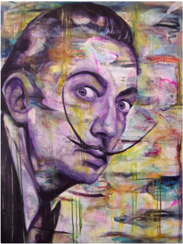 HGVFR Salvador Dalis Retrato Lienzo Carteles E Impresiones Murales Imágenes Sala De Estar Decoración del Hogar Y2C115K 40X60Cm Sin Marco