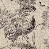Bird Toile Fossil Brown 90'' Round Tablecloth Cotton with Heavy Basket Linen Topper