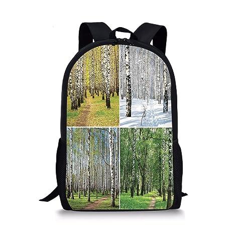 b59e5f6895cf Amazon.com: iPrint School Bags Landscape,Pathway in Woodland Birch ...