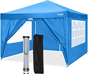 COBIZI Canopy 10'x10' Pop Up Commercial Instant Canopy Tent, Fully Waterproof, Outdoor Party Canopies with 4 Removable Zippered Sidewalls, Stakes x8, Ropes x4 (Blue)
