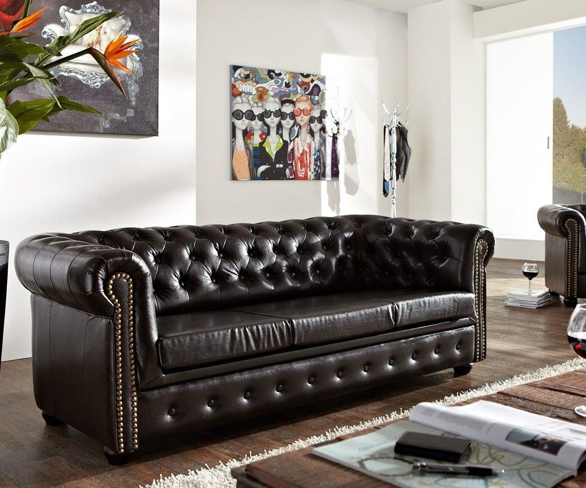 Couch Chesterfield Antikbraun 200x92 Cm 3 Sitzer Sofa Abgesteppt
