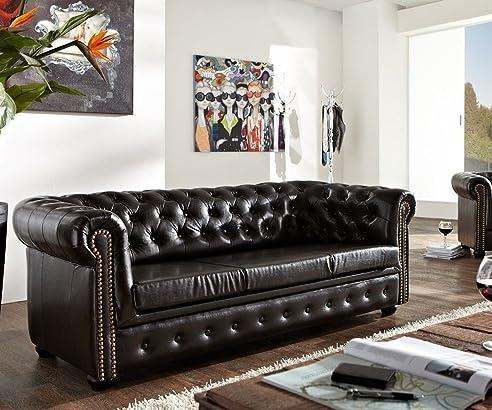 Couch Chesterfield Antikbraun 200x92 cm 3-Sitzer Sofa abgesteppt ...