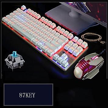L&Y Teclados para Gamers Juego de Teclado Mechanical USB Gaming Waterproof 104KEY Juego de Mouse de