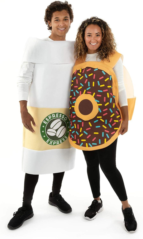 Coffee & Donut Halloween Couples Costumes - Unisex Funny Breakfast Food Costume