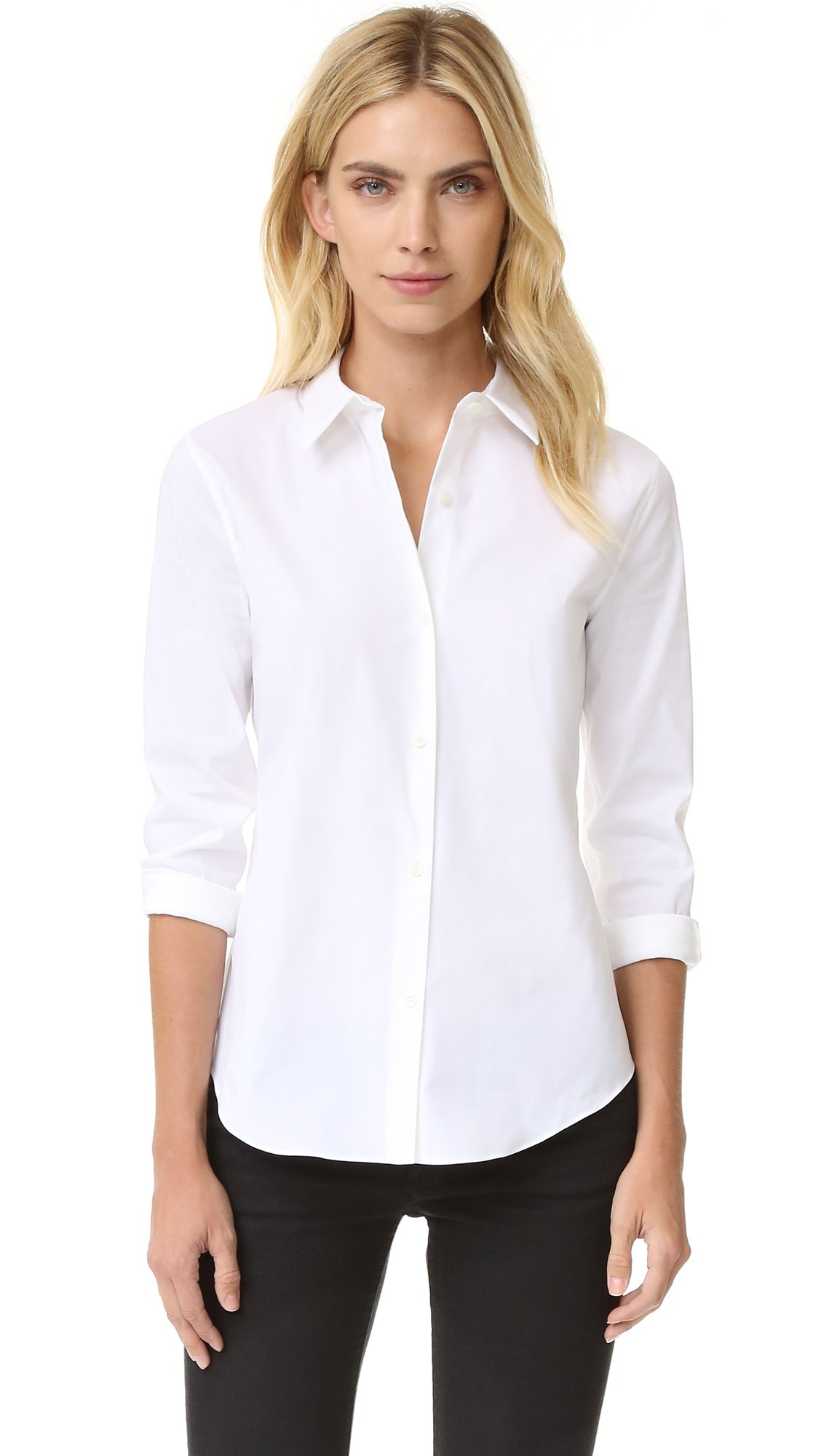 Theory Women's Tenia Luxe Shirt, White, Small by Theory