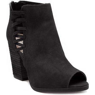 Rampage Women's Darrow Peep Toe Stacked Block Heel Zipper Ankle Boot   Shoes