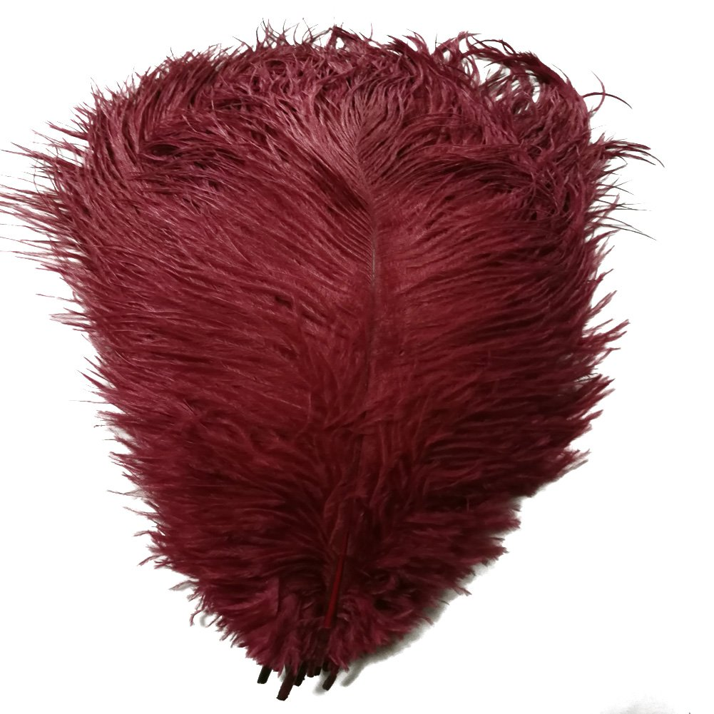 MELADY Pack of 50pcs Natural Ostrich Feathers 16-18inch(40~45cm) for Home Wedding Party Decoration (Burgundy)