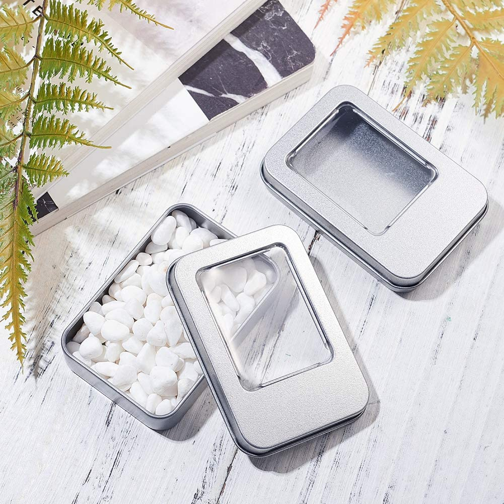 BENECREAT 10 Pack Rect/ángula Caja de Almacenamiento de Metal con Gran Ventana Transparente para Organizar Art/ículos Peque/ños Apta para Viaje 9x6x1.75cm