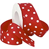 Morex Grosgrain Dot Ribbon, 1-1/2-Inch by 20-Yard Spool, Red with White Dots