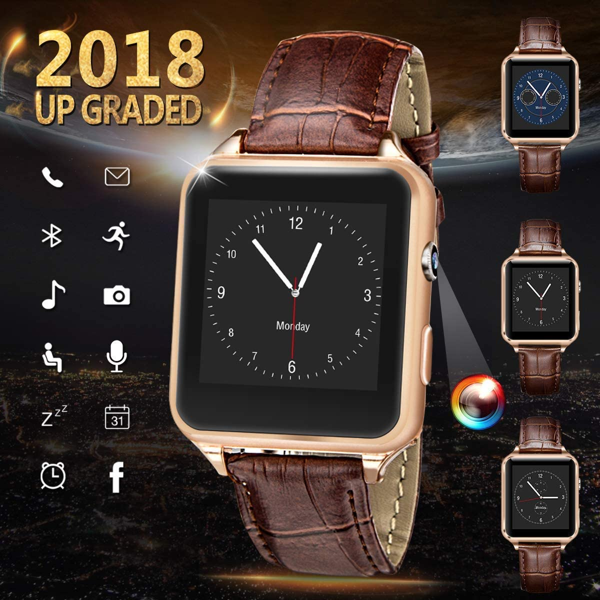 Smart Watch for Android Phones, iFunTec Touchscreen Bluetooth Smartwatch with Camera Fitness Tracker w/Pedometer Sports Smartwatch w/Phone Sim Card ...