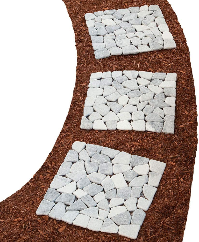 Bits and Pieces - Square Marble Stepping Stones - Decorative Stones for Your Garden