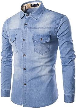 Camisa Denim Hombres más de Gran tamaño Pantalones Vaqueros de algodón Rebeca Casual de Moda Dos Bolsillo Slim Fit Camisas de Manga Larga Hombre