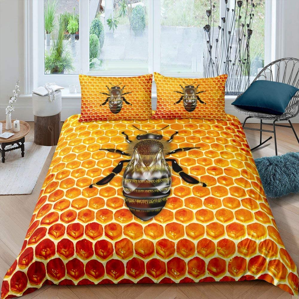 Erosebridal Honeycomb Duvet Cover for Kids Boys Girls, Beehive Hexagon Comforter Cover, Bee Insect Pattern Bedspread Cover Geometric Hexagonal Orange Bedding Set with Zipper Closure Full Size
