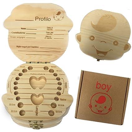 (Versione italiana) caja de dientes para niños, bebé dientes caja de almacenamiento organizador