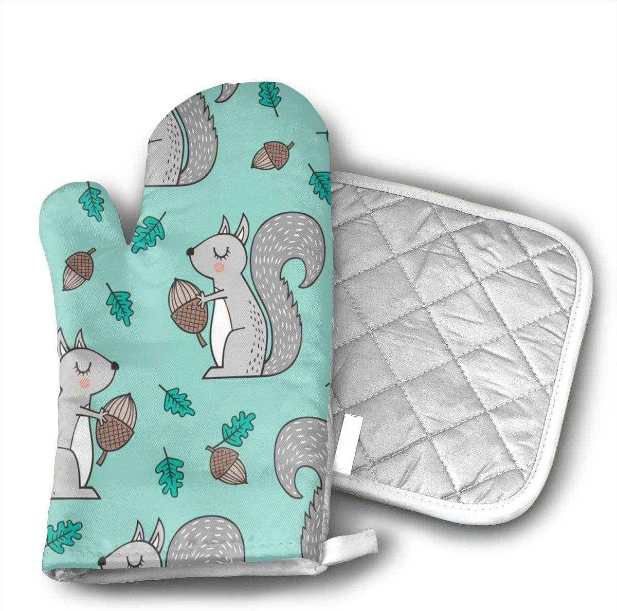 BenteLi Forest Squirrels with Leaves Acorn Autumn Fall On Mint Green Oven Mitts,Professional Heat Resistant Microwave Oven Insulation Thickening Gloves Soft Inner Lining Kitchen Cooking Mittens