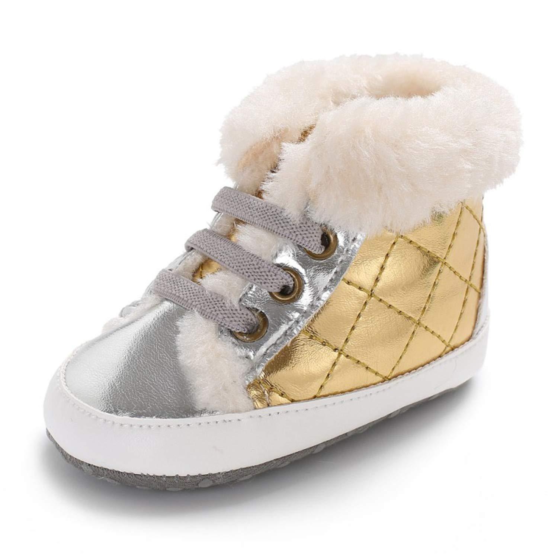PU Patch High-Cut Shoes Sneaker Anti-Slip Diamond Plaid with Velvet Winter Warm Shoes