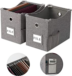 Collapsible File Box Storage Organizer with lid Letter size [2 PACK] Decorative Linen Hanging File Boxes with Handles Office File Storage Box Metal Sliding Rail for Document Storage (Gray, Letter)