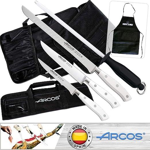 Juego Cuchillos Jamoneros Arcos Riviera Blanco + Bolsa Porta Cuchillos: Amazon.es: Hogar