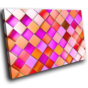toile encadrée AB750C imprimé coloré Wall Art - Orange Rose ...