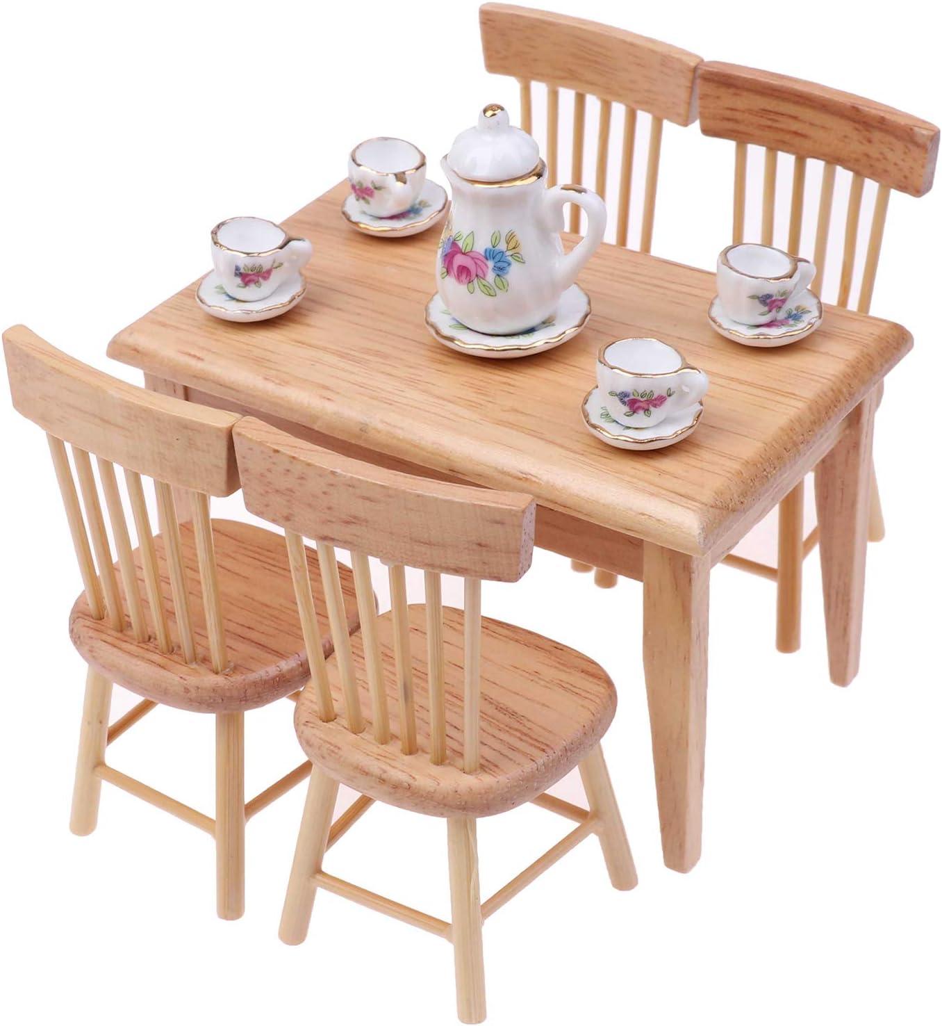 Dolls House Dining Rooms Mini Wooden Furniture Set Porcelain Tea Set 1//12