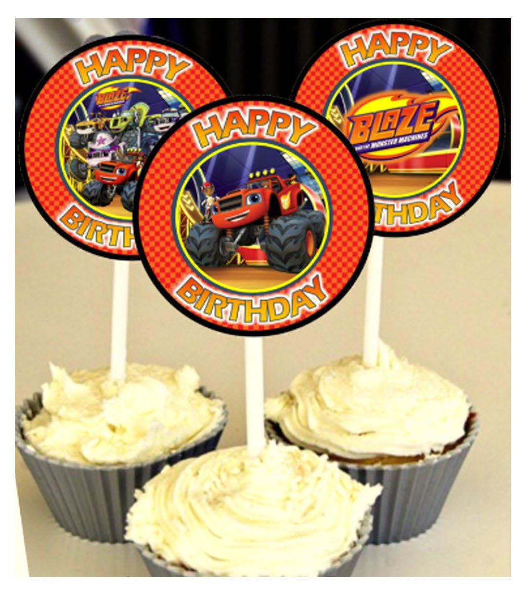 12 Happy Birthday BLAZE AND THE MONSTER MACHINES Inspired Party Picks, Cupcake Picks, CupcakeToppers