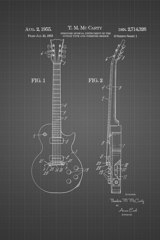 JP London Heavyweight Grunge Rock American Frets Guitar Fender Side Prepasted Removable Vintage Black Grid Poster Patent Art at 36 in by 24 in SPMURJSGLT42