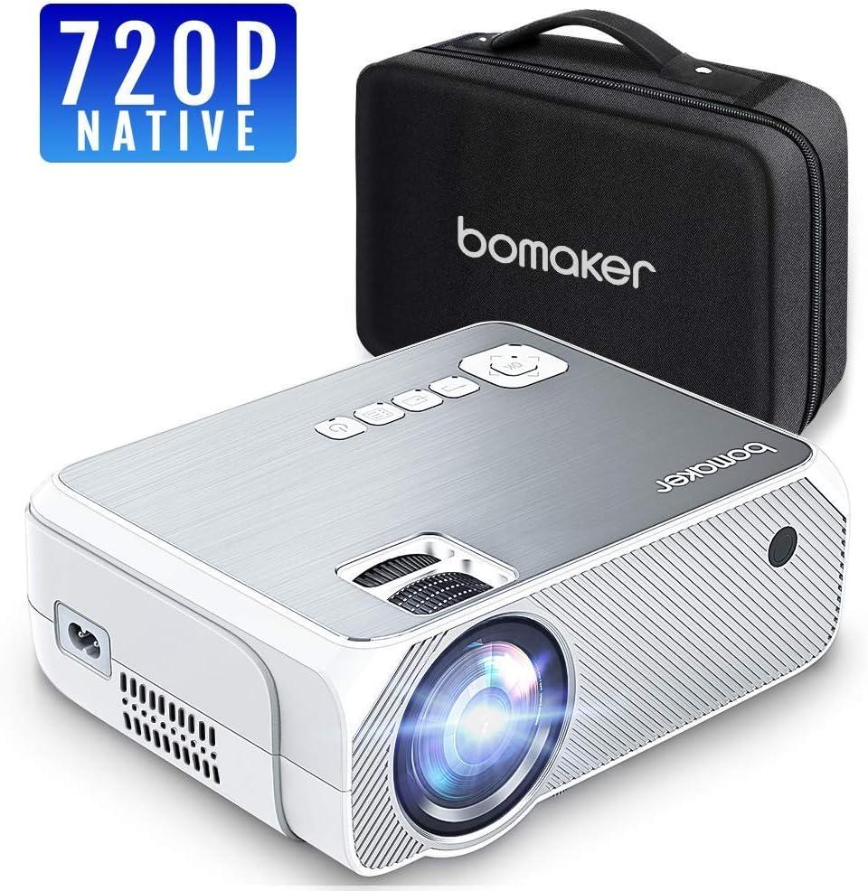 Proyector BOMAKER Resolución Nativa 1280 * 720p 4000 Lúmenes, Soporte Full HD 1080p, Mini Portátil Proyector GC555 con Estuche Portátil, Pantalla de 250 Pulgadas HDMI/VGA/AV/USB/SD