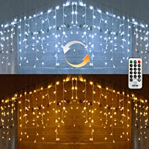 Icicle Christmas Lights, 2 in 1 White & Warm White Color Changing Icicle Lights with Remote, 360 LED 29.5ft Window Fairy Lights with 60 Drops, LED Christmas Lights for Xmas Wedding Home Outdoor Decor