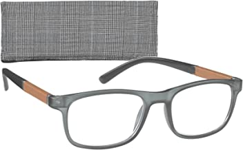 c6b623646b Rectangular Men s Reading Glasses with Leatherette Trim Temples By ICU  (2.00