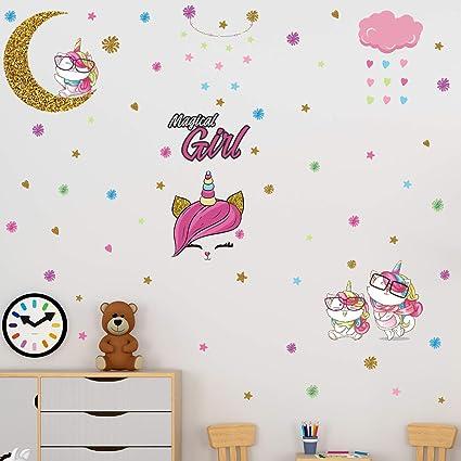Cute Unicorns Wall Sticker For Kids Rooms/&kindergarten Door Decor DIY Removable
