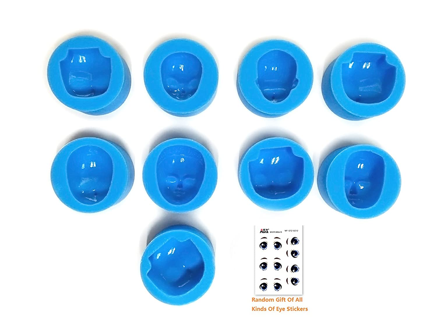 mofa 16 PCS of Set Human Face Shaped 3D Silicone Cake Fondant Mold, Cake Decoration Tools, Soap, Candle Moulds,Fondant, Polymer Clay, Soap Making,Crafting Projects (Small Size) 4336840941