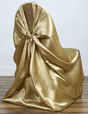 MDS Pack of 10 satin Universal Chair Cover / Pillowcase / tie back self chair cover for Wedding or Events Banquet / Folding Chair cover - Gold
