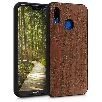 kwmobile Funda de Madera Madera de Nogal para Huawei P20 Lite - Case Bumper de TPU diseño de Palmeras - Cover Protector Duro en marrón Oscuro