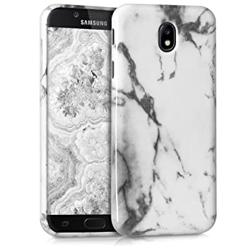 kwmobile Funda para Samsung Galaxy J7 (2017) DUOS - Carcasa de TPU para móvil y diseño de mármol clásico en Blanco/Negro