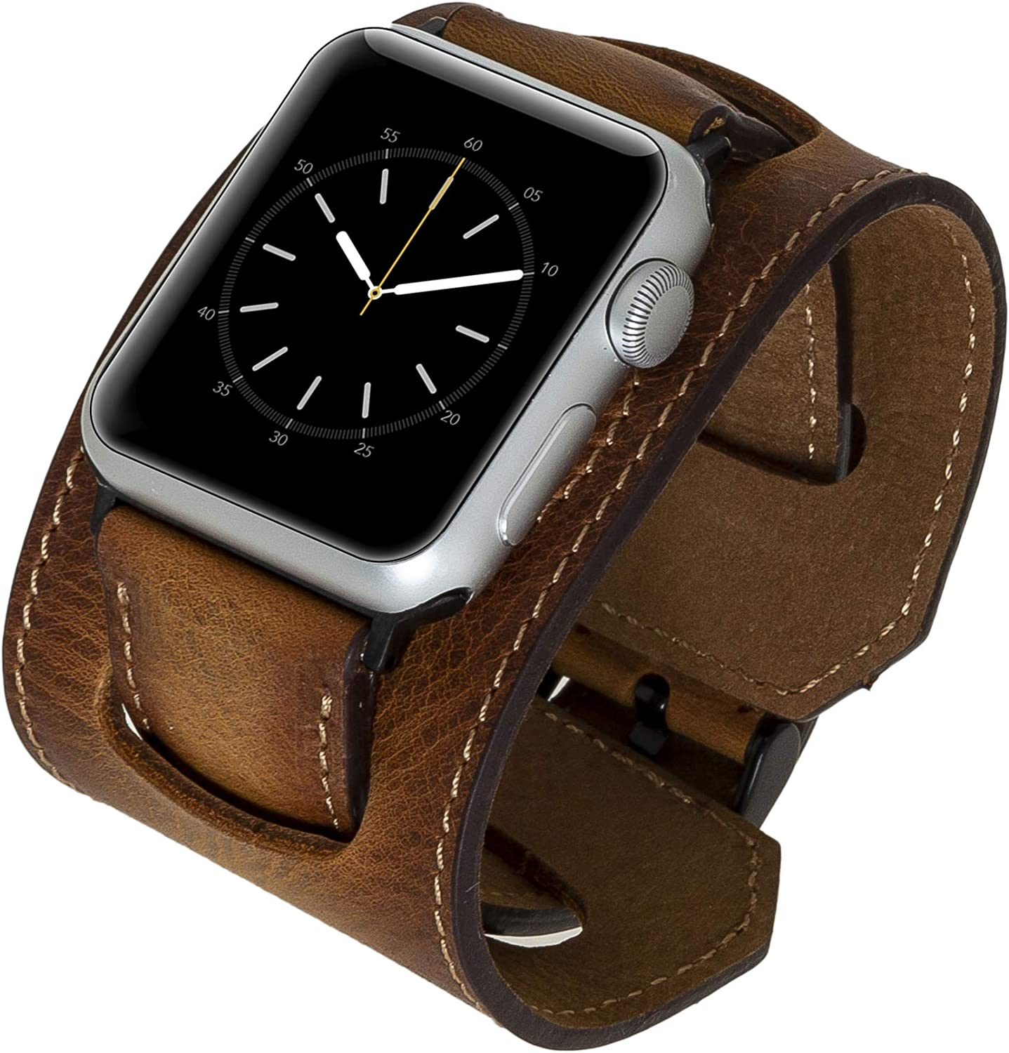 Venito Ancona Cuff Handmade Premium Leather Watch Band Compatible with The Newest Apple Watch iwatch Series 6 as Well as Series 1,2,3,4,5 (Antique Brown w/Black Stainless Steel Hardware, 38mm-40mm)