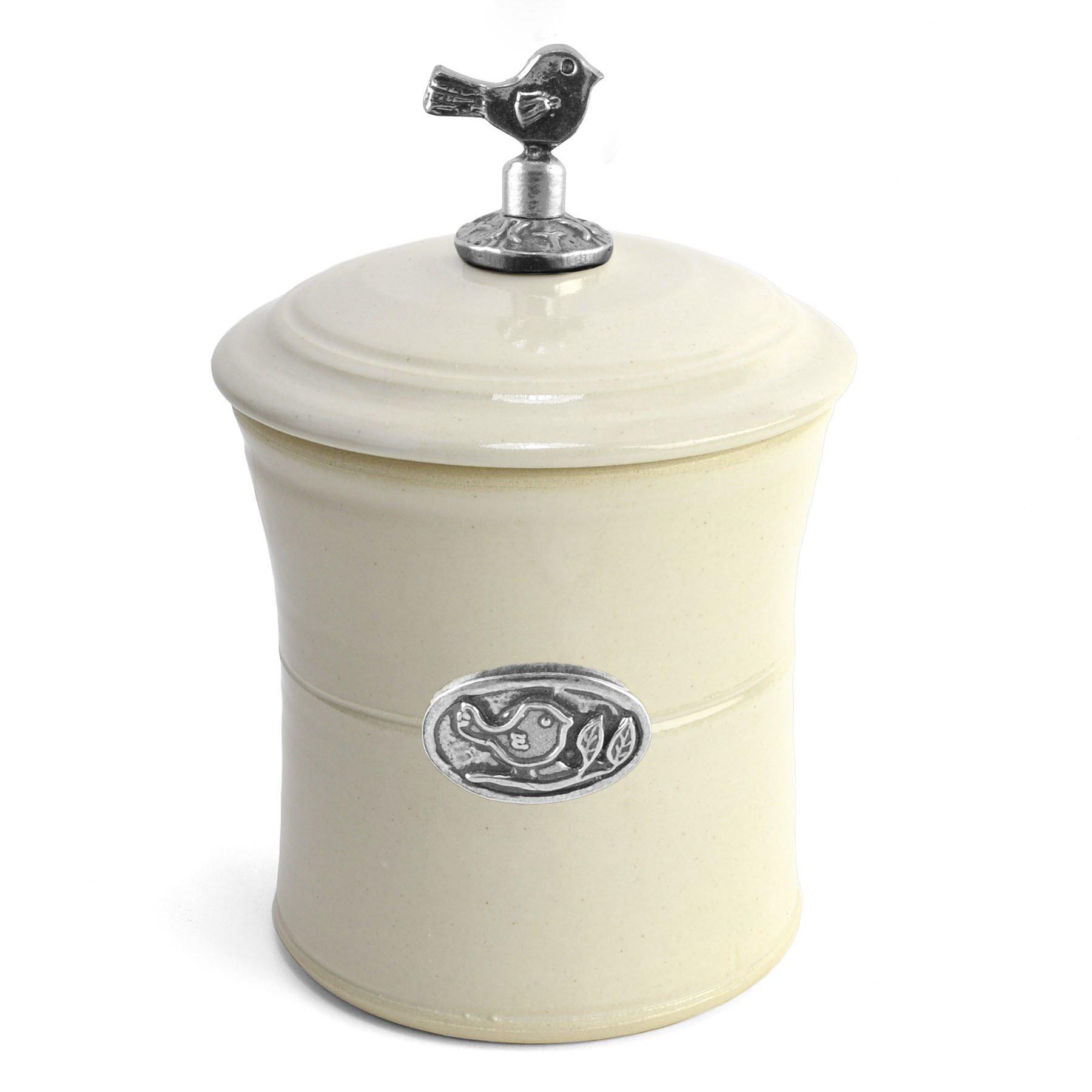 Oregon Stoneware Studio Bird Garlic Pot with Pewter Finial, Whipping Cream by Oregon Stoneware Studio