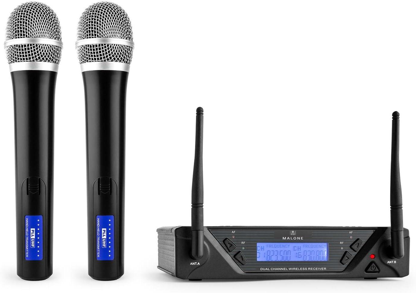 Malone UHF-450 Duo 1 - set de micrófonos inalámbricos UHF de 2 canales, 2 x micrófono de mano inalámbrico, 823-832 MHz por canal, 2 x XLR y 1 x salida jack, estuche de transporte, negro