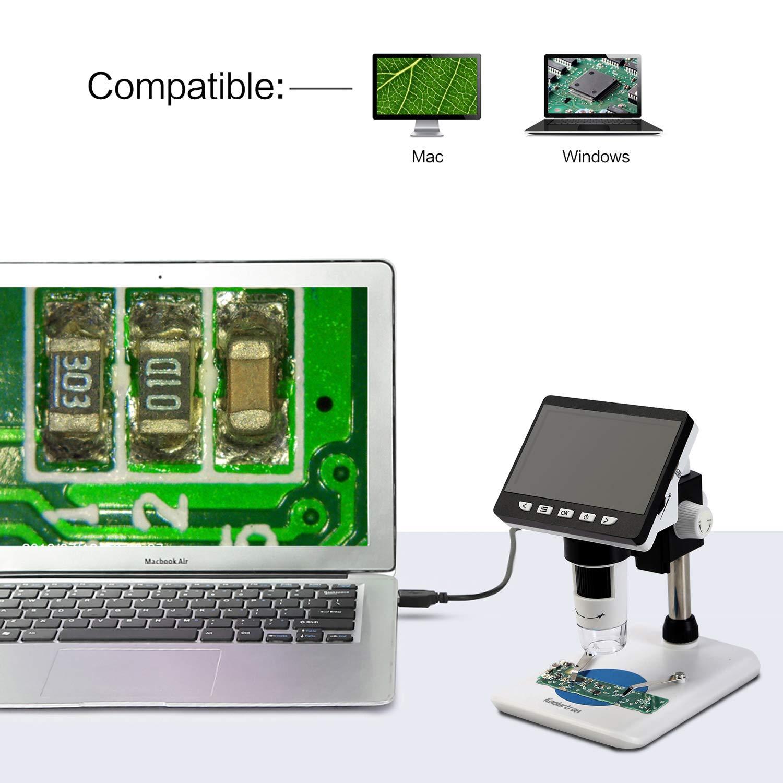 Resoluci/ón 1080P con soporte de metal Bater/ía de litio recargable incorporada para PC con Windows 8 LED ajustables Koolertron 600X Pantalla LCD de 4.3 Lupa electr/ónica de video Microscopio digital