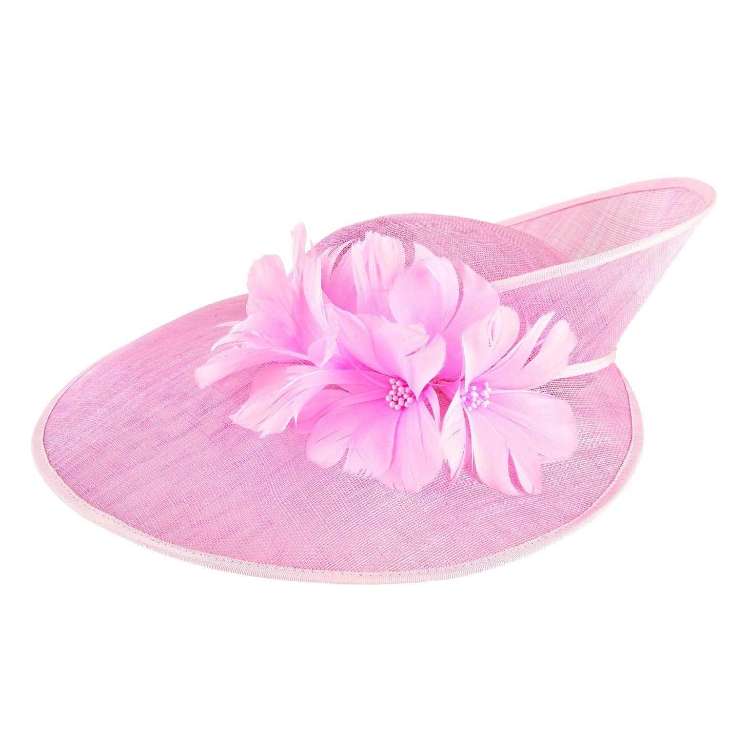 San Diego Hat Company Women's Twisted Brim Sinamay Fascinator Hat, Pink, OS