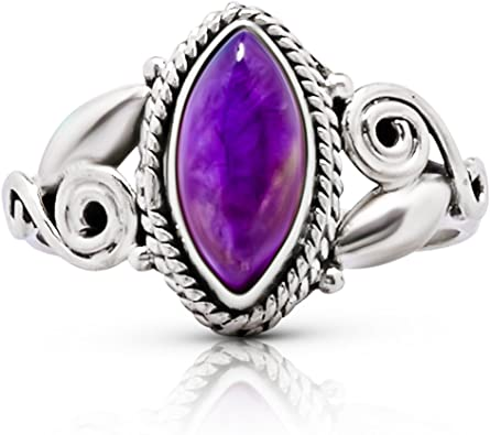 925 Amethyst indian ring bohemian statement tribal solitaire boho india jewelry sterling silver faceted purple amethist spiral design SR7A
