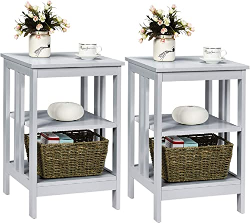 Giantex Nightstand 3-Tier Sofa Side Table W/Reinforced Bars and Stable Structure Multifunctional Storage Stand