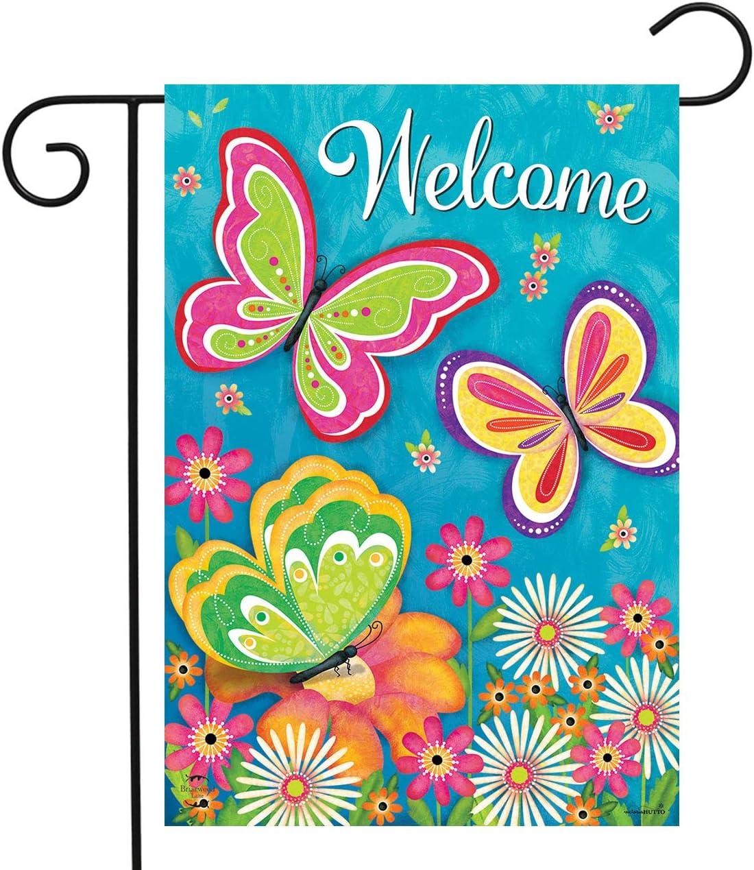 "Briarwood Lane Butterfly Garden Spring Garden Flag Welcome Floral 12.5"" x 18"""